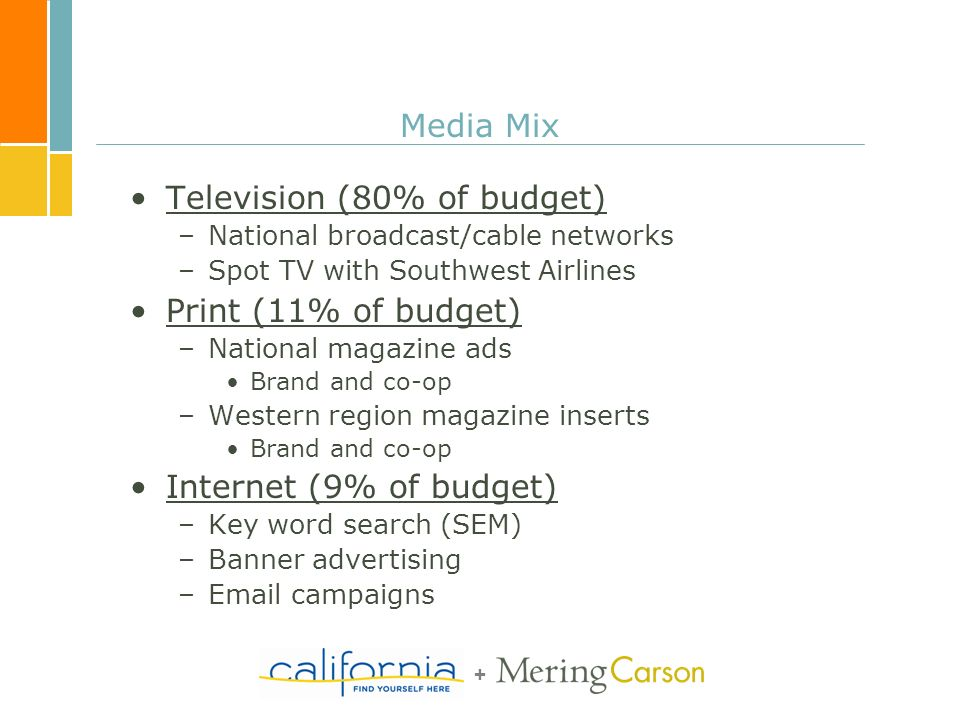 + Media Mix Television (80% of budget) –National broadcast/cable networks –Spot TV with Southwest Airlines Print (11% of budget) –National magazine ads Brand and co-op –Western region magazine inserts Brand and co-op Internet (9% of budget) –Key word search (SEM) –Banner advertising –Email campaigns