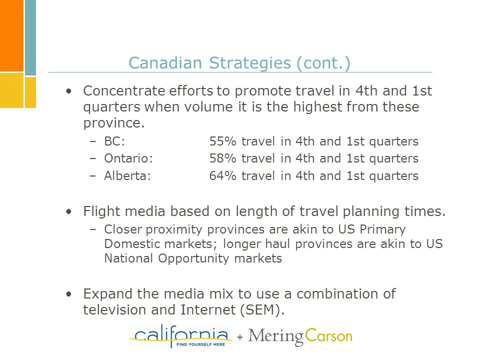 + Canadian Strategies (cont.) Concentrate efforts to promote travel in 4th and 1st quarters when volume it is the highest from these province.