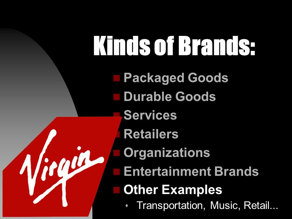 Kinds of Brands: n Packaged Goods n Durable Goods n Services n Retailers n Organizations n Entertainment Brands