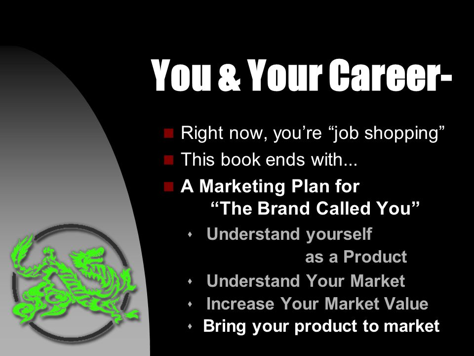 You & Your Career- n Right now, youre job shopping n This book ends with...