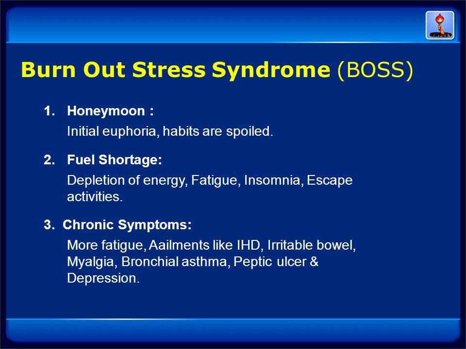 1.Honeymoon : Initial euphoria, habits are spoiled. 2. Fuel Shortage: Depletion of energy, Fatigue, Insomnia, Escape activities. 3. Chronic Symptoms: