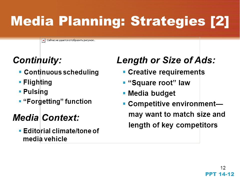 11 PPT 14-11 Media Planning: Strategies [1] Reach the target audience Demographic, geographic, lifestyle / attitude define choices Single-source tracking services help identify effect of placements Geographic scope of media placement Geo-targeting of regions of high-purchase density Reach and frequency decisions Effective reach and effective frequency determination Message weight Gross impression calculation for impact – Between vehicle duplication – With-in vehicle duplication