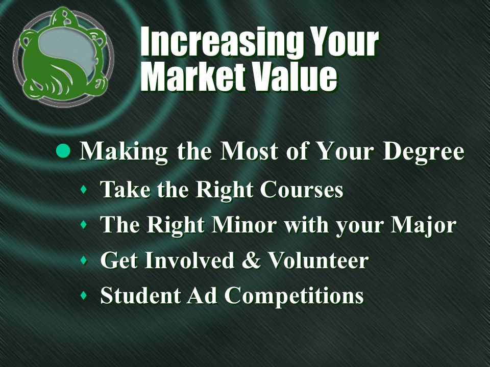 Increasing Your Market Value l Making the Most of Your Degree s Take the Right Courses s The Right Minor with your Major s Get Involved & Volunteer s Student Ad Competitions s Take the Right Courses s The Right Minor with your Major s Get Involved & Volunteer s Student Ad Competitions