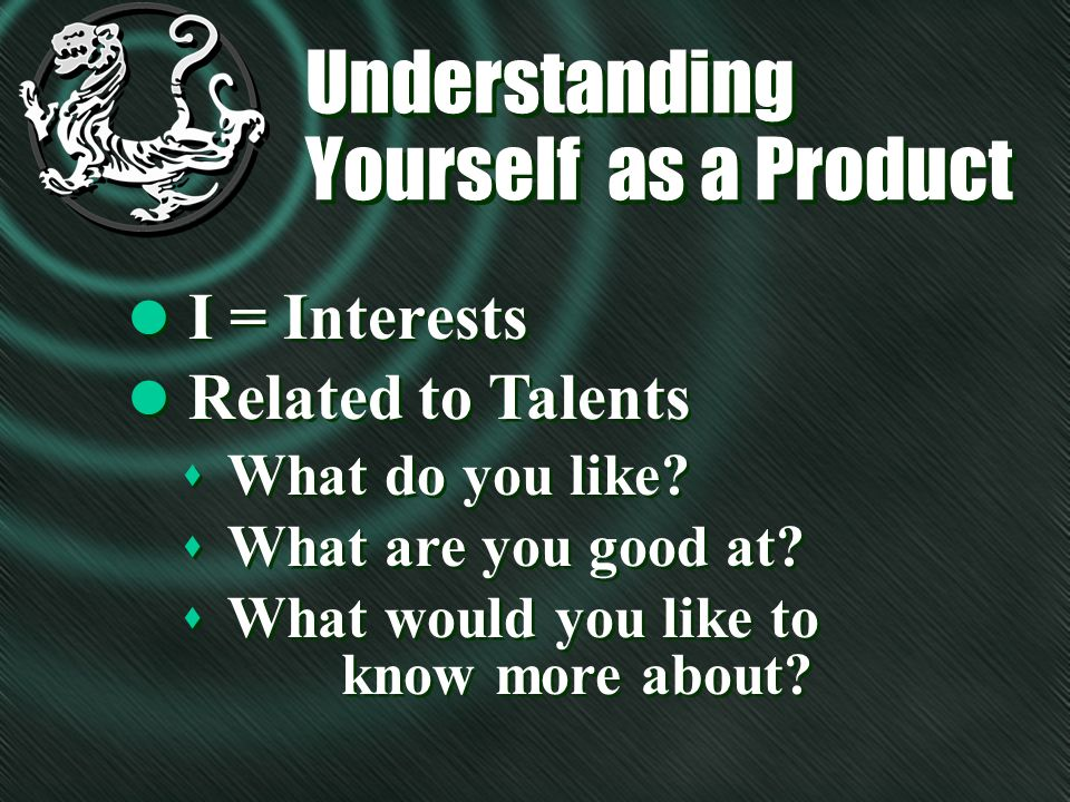 Understanding Yourself as a Product l I = Interests l Related to Talents s What do you like.
