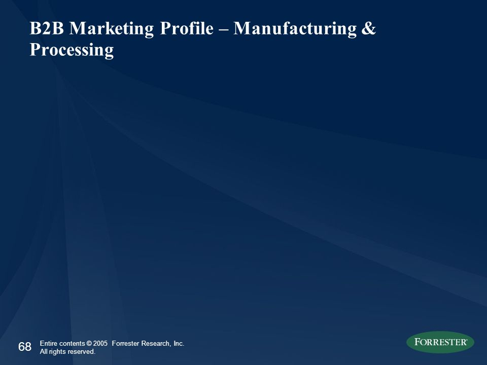 68 Entire contents © 2005 Forrester Research, Inc. All rights reserved. B2B Marketing Profile – Manufacturing & Processing