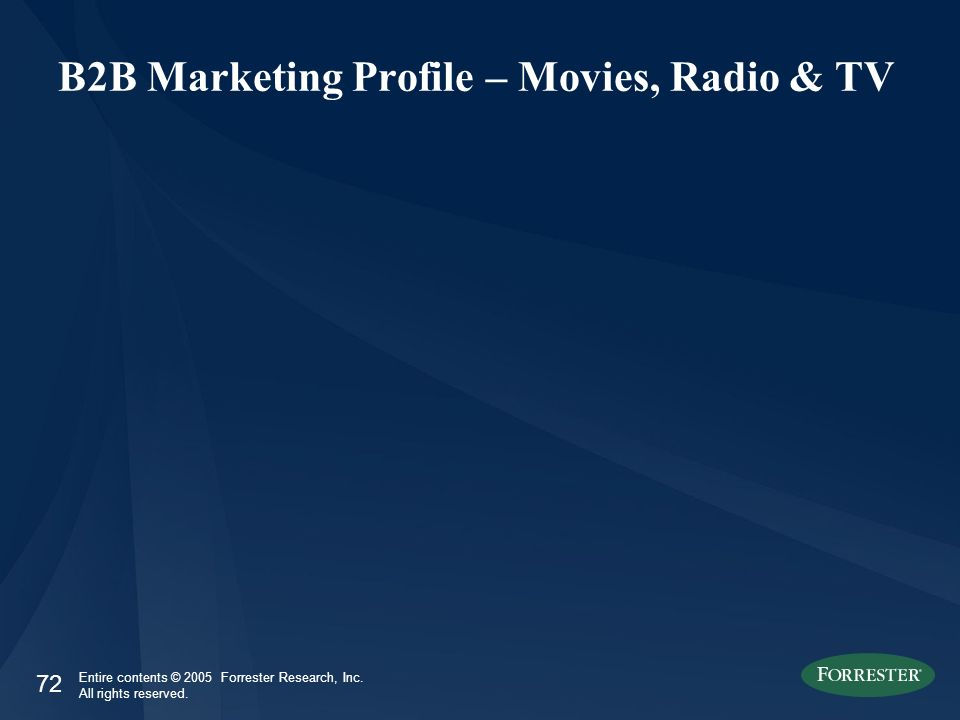 72 Entire contents © 2005 Forrester Research, Inc. All rights reserved. B2B Marketing Profile – Movies, Radio & TV