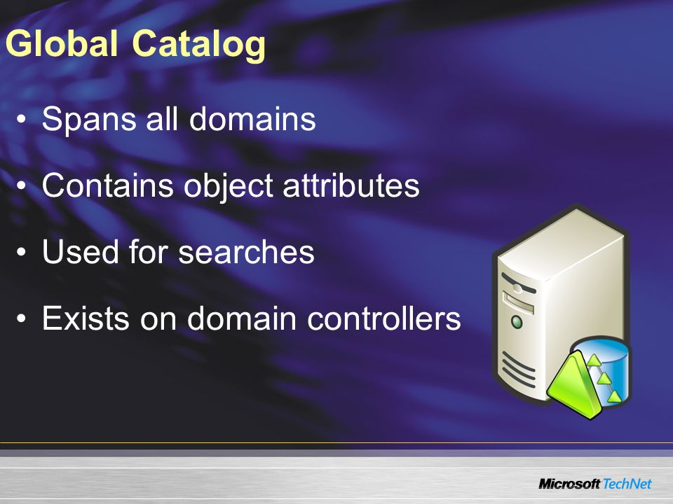 Global Catalog Spans all domains Contains object attributes Used for searches Exists on domain controllers