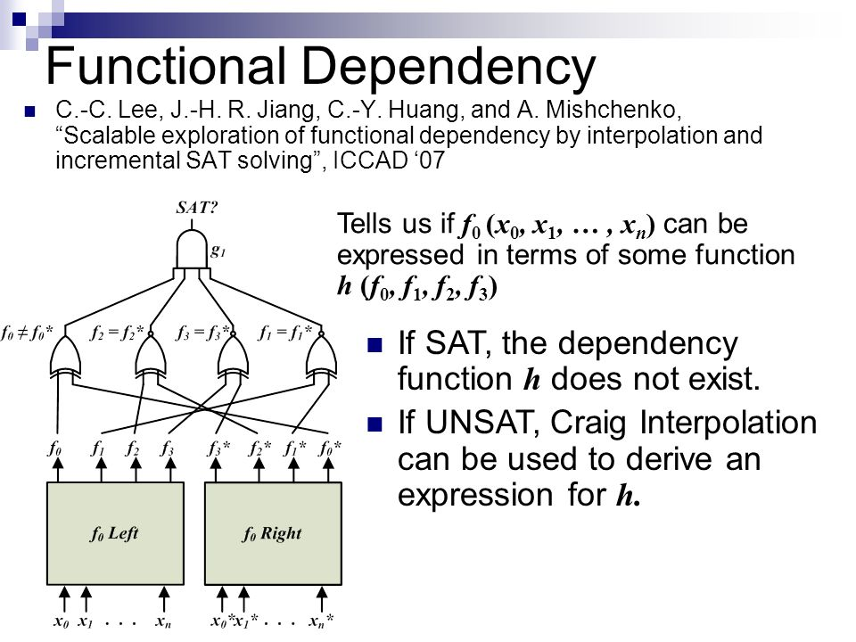 Functional Dependency C.-C. Lee, J.-H. R. Jiang, C.-Y. Huang, and A. Mishchenko, Scalable exploration of functional dependency by interpolation and in