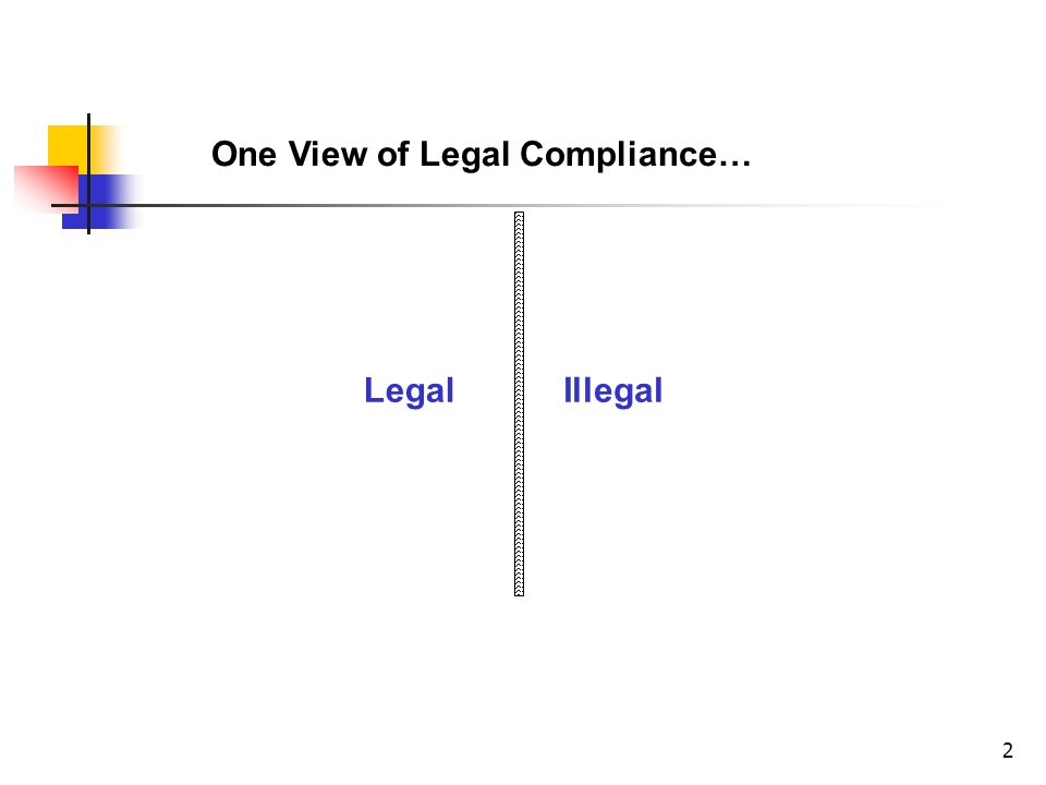 2 One View of Legal Compliance… IllegalLegal