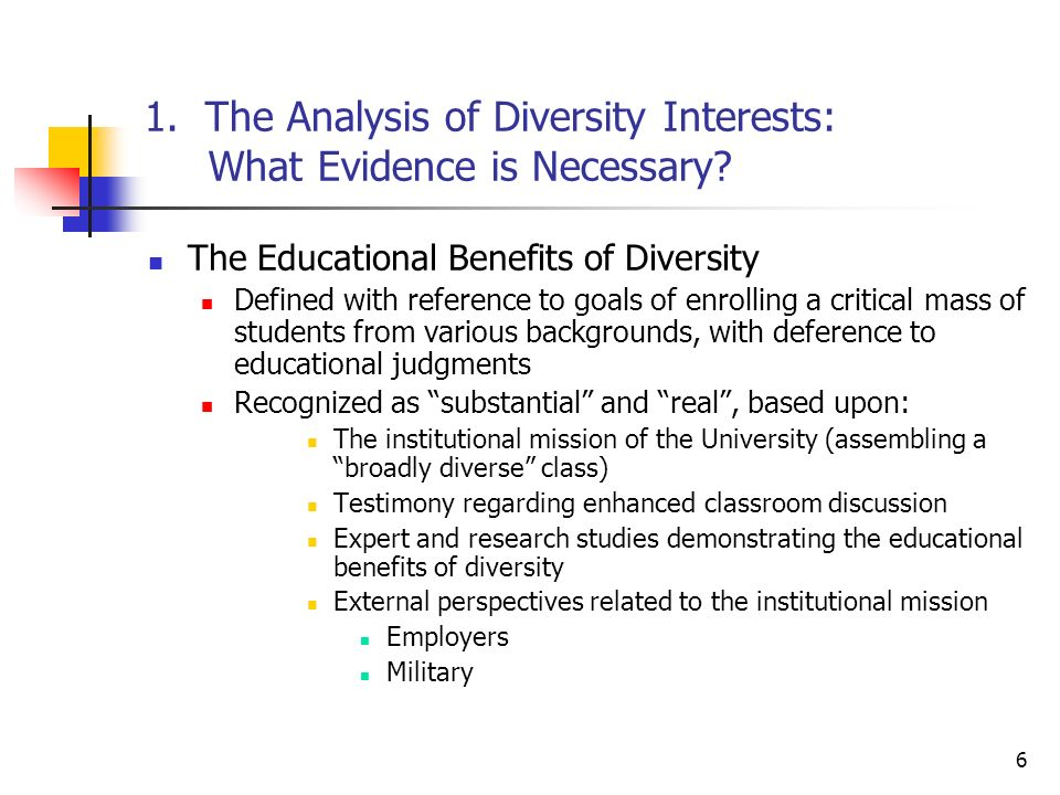 6 1. The Analysis of Diversity Interests: What Evidence is Necessary.
