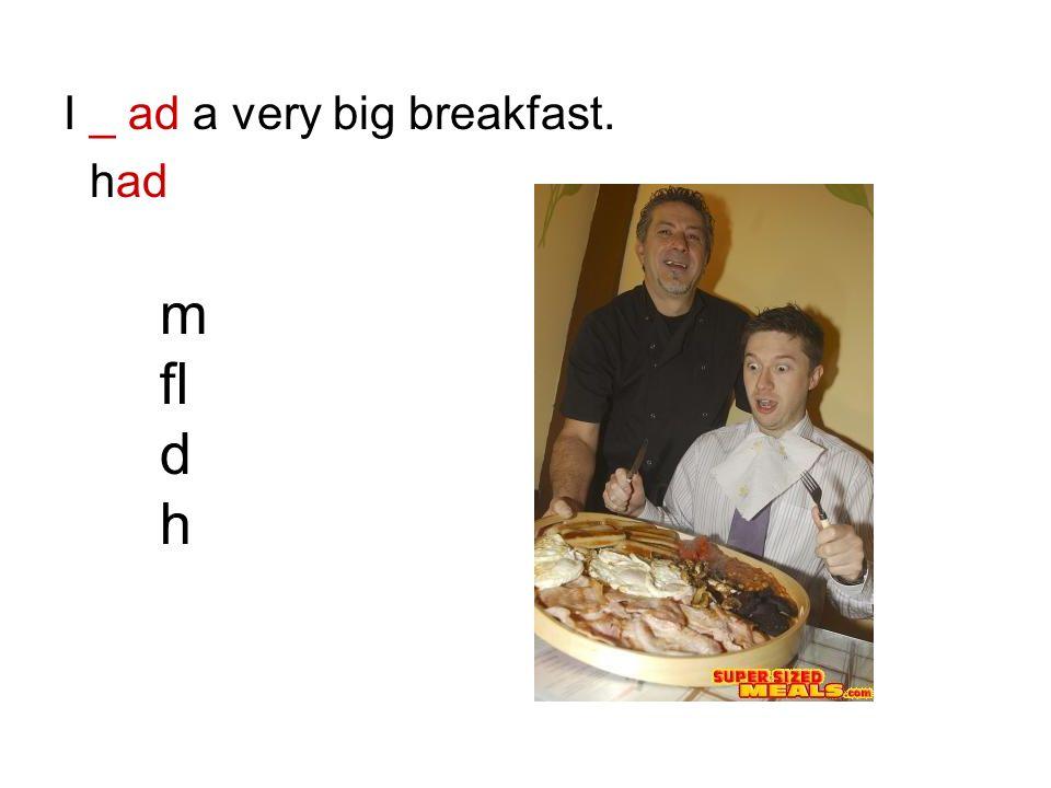 I _ ad a very big breakfast. had m fl d h
