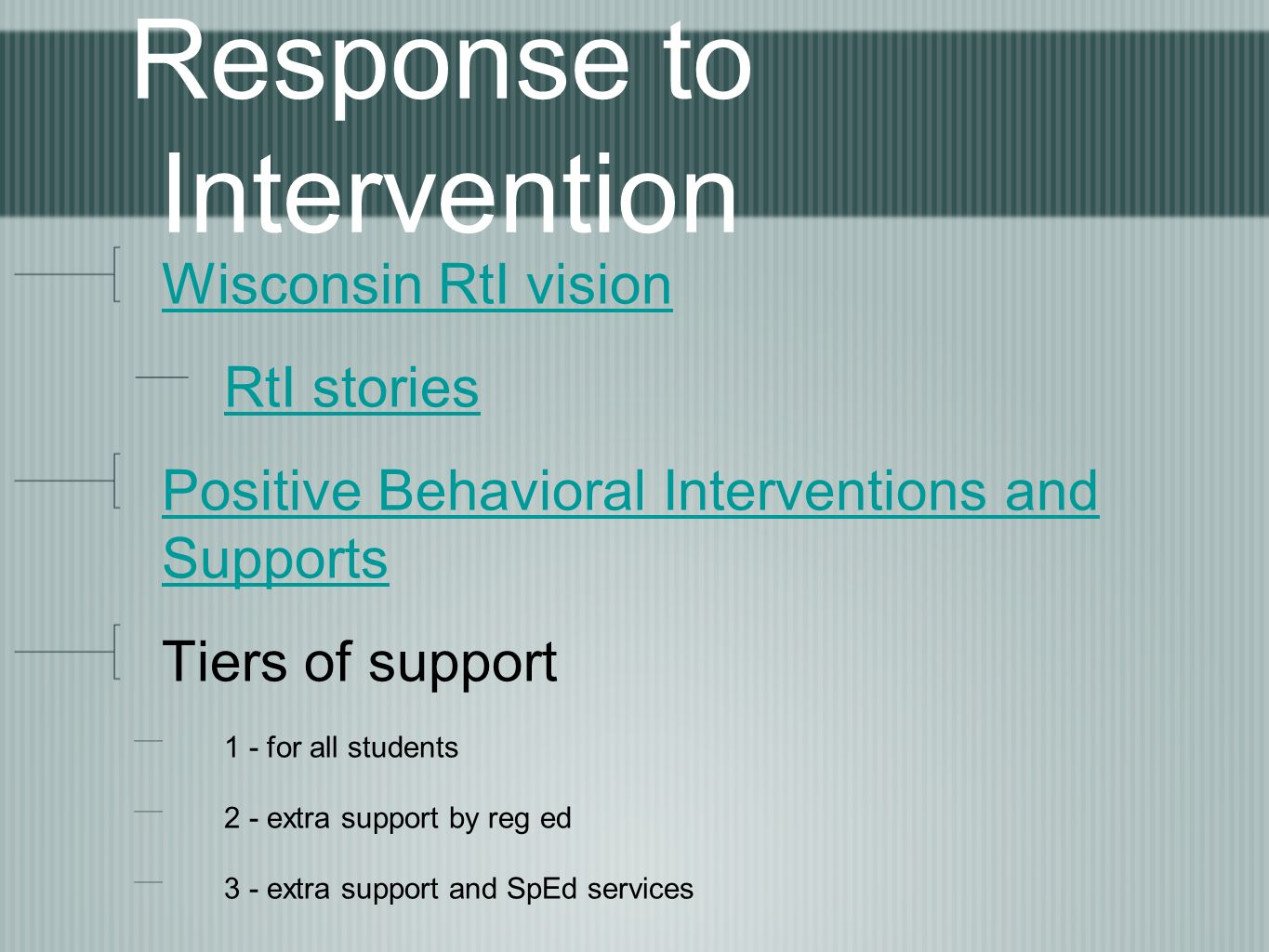 Response to Intervention Wisconsin RtI vision RtI stories Positive Behavioral Interventions and Supports Tiers of support 1 - for all students 2 - extra support by reg ed 3 - extra support and SpEd services