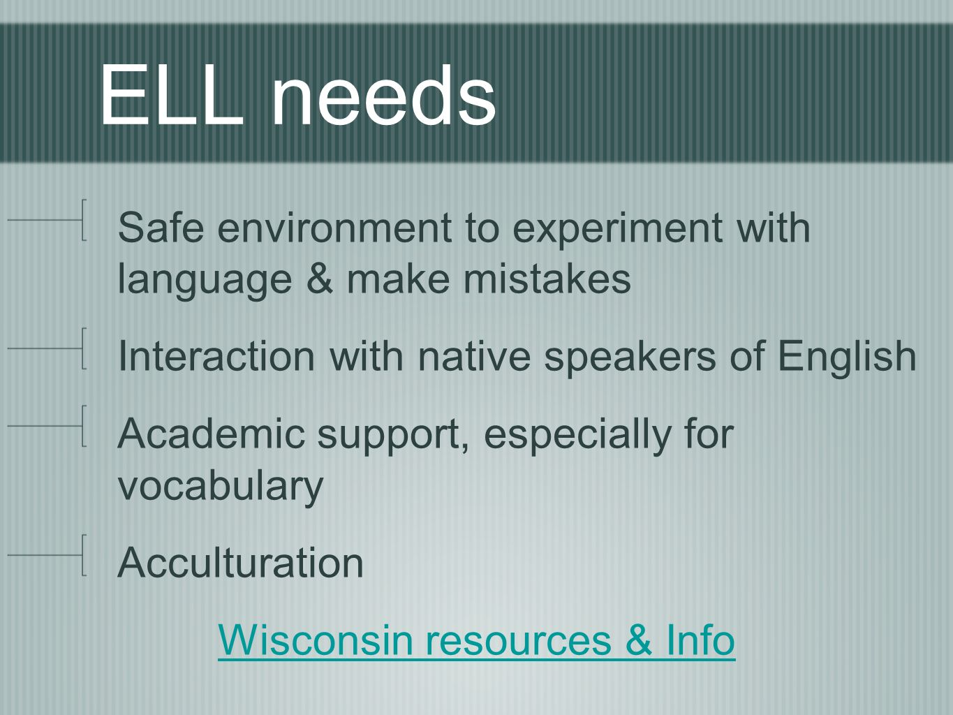ELL needs Safe environment to experiment with language & make mistakes Interaction with native speakers of English Academic support, especially for vocabulary Acculturation Wisconsin resources & Info