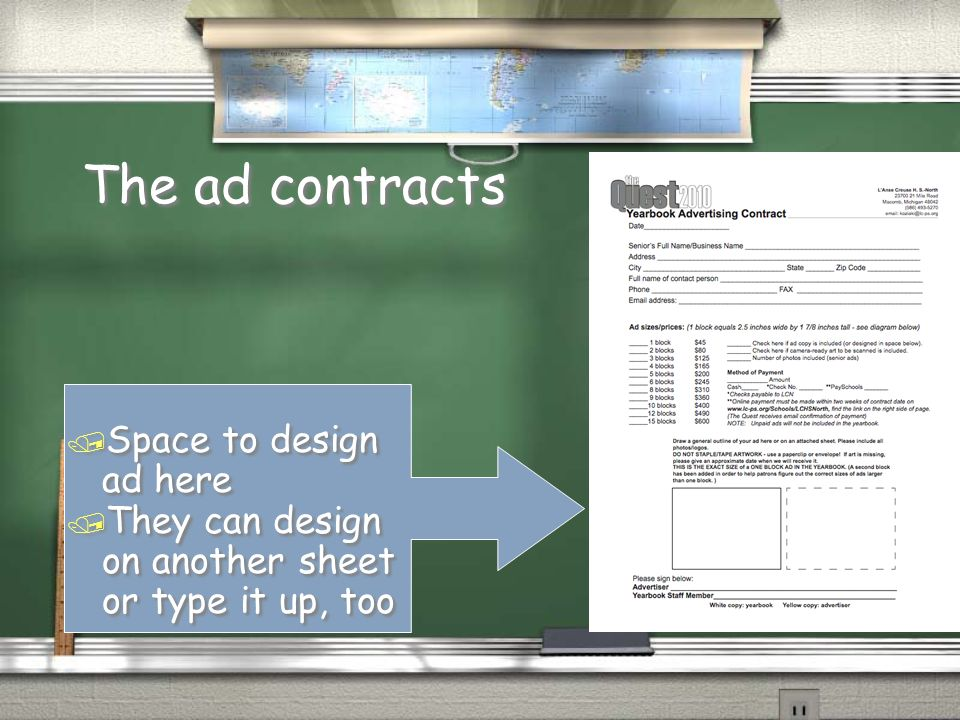 The ad contracts / Help them to choose proper size for ad / Method of payment.