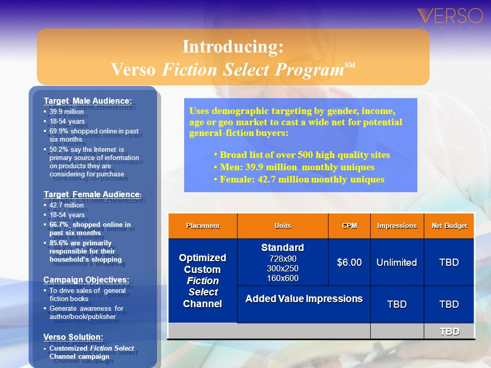 Introducing: Verso Fiction Select Program SM Target Male Audience: 39.9 million 18-54 years 69.9% shopped online in past six months 50.2% say the Inte