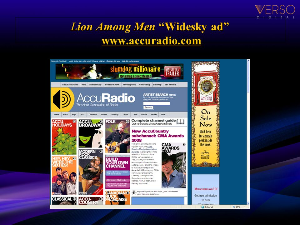 Lion Among Men Widesky ad www.accuradio.com www.accuradio.com