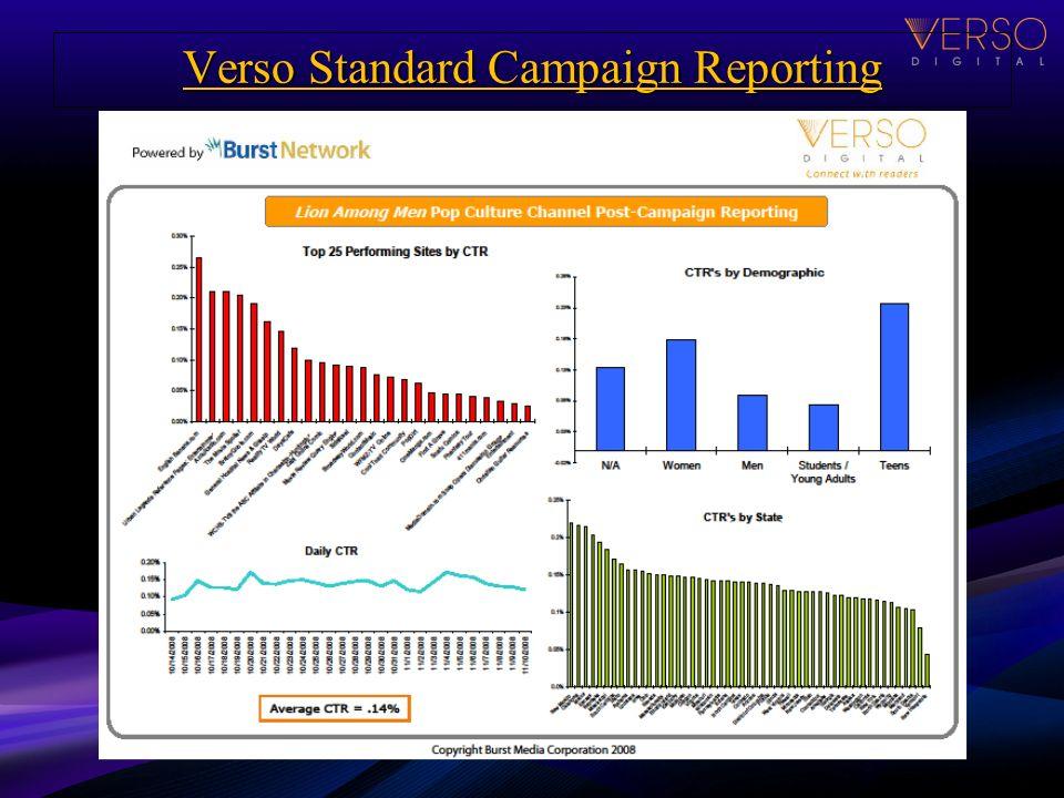 Verso Standard Campaign Reporting