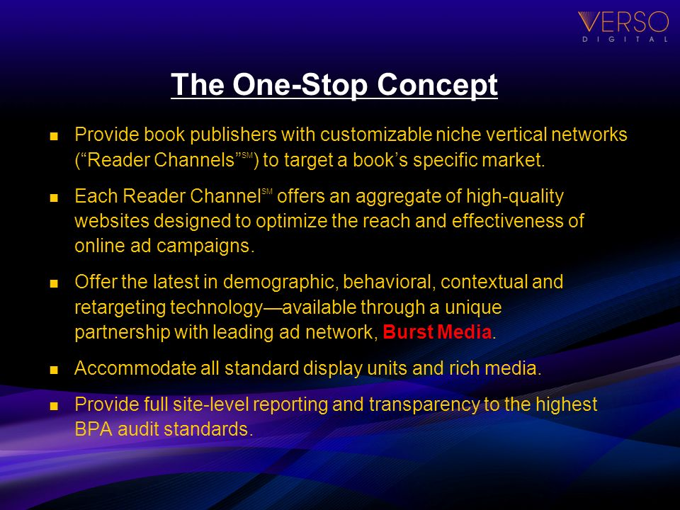 The One-Stop Concept Provide book publishers with customizable niche vertical networks (Reader Channels SM ) to target a books specific market. Each R