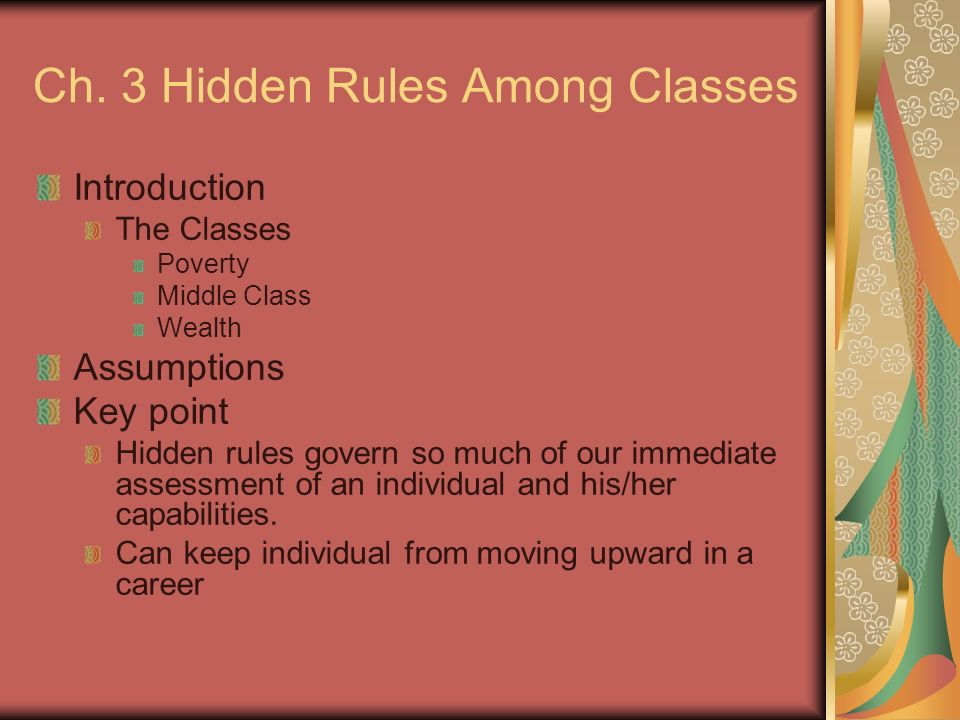 Ch. 3 Hidden Rules Among Classes Introduction The Classes Poverty Middle Class Wealth Assumptions Key point Hidden rules govern so much of our immedia