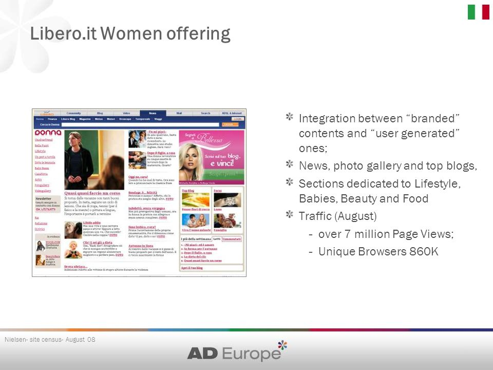 Libero.it Women offering Nielsen- site census- August 08 Integration between branded contents and user generated ones; News, photo gallery and top blo