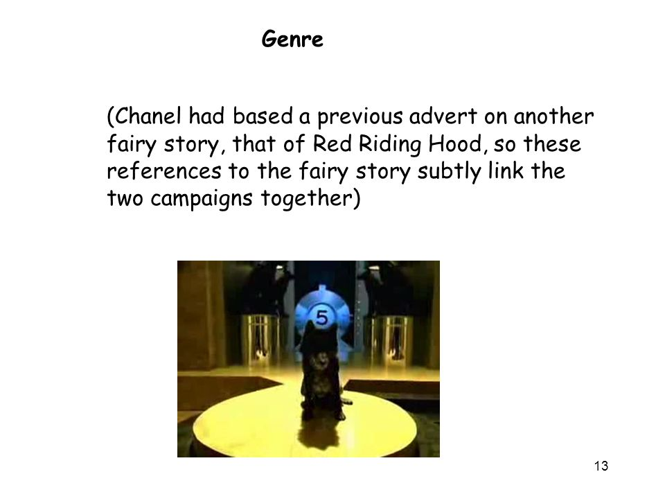 13 (Chanel had based a previous advert on another fairy story, that of Red Riding Hood, so these references to the fairy story subtly link the two campaigns together) Genre