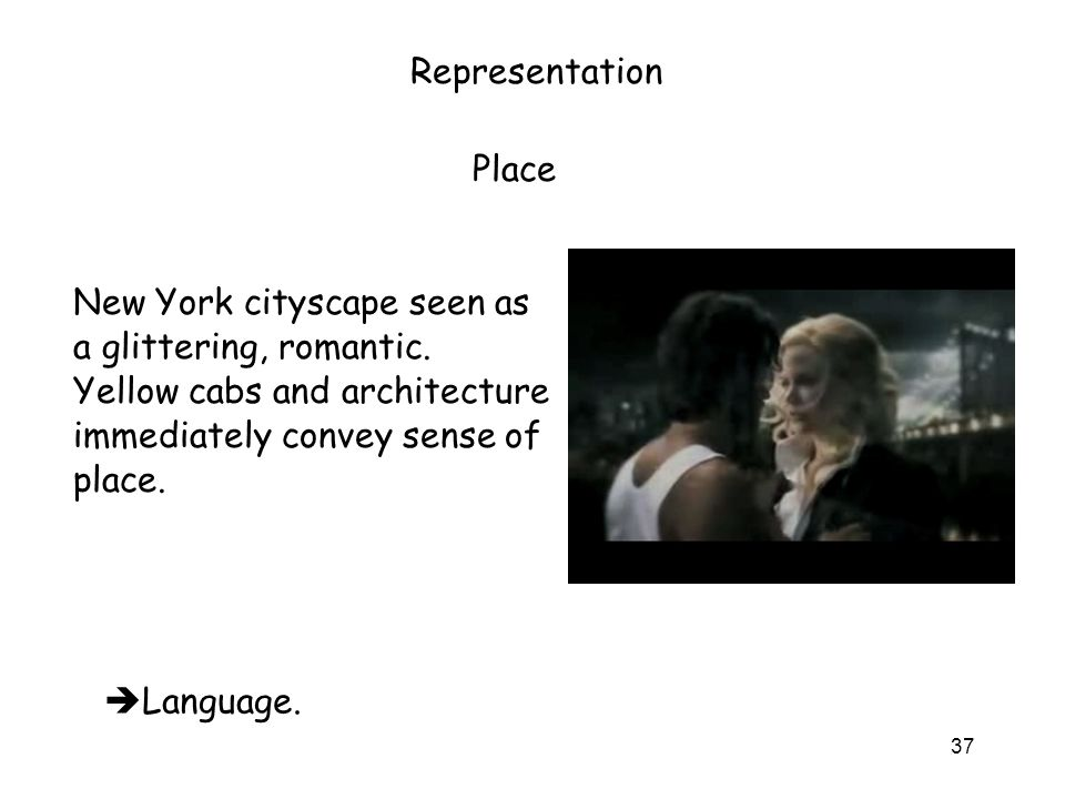 37 Representation New York cityscape seen as a glittering, romantic.