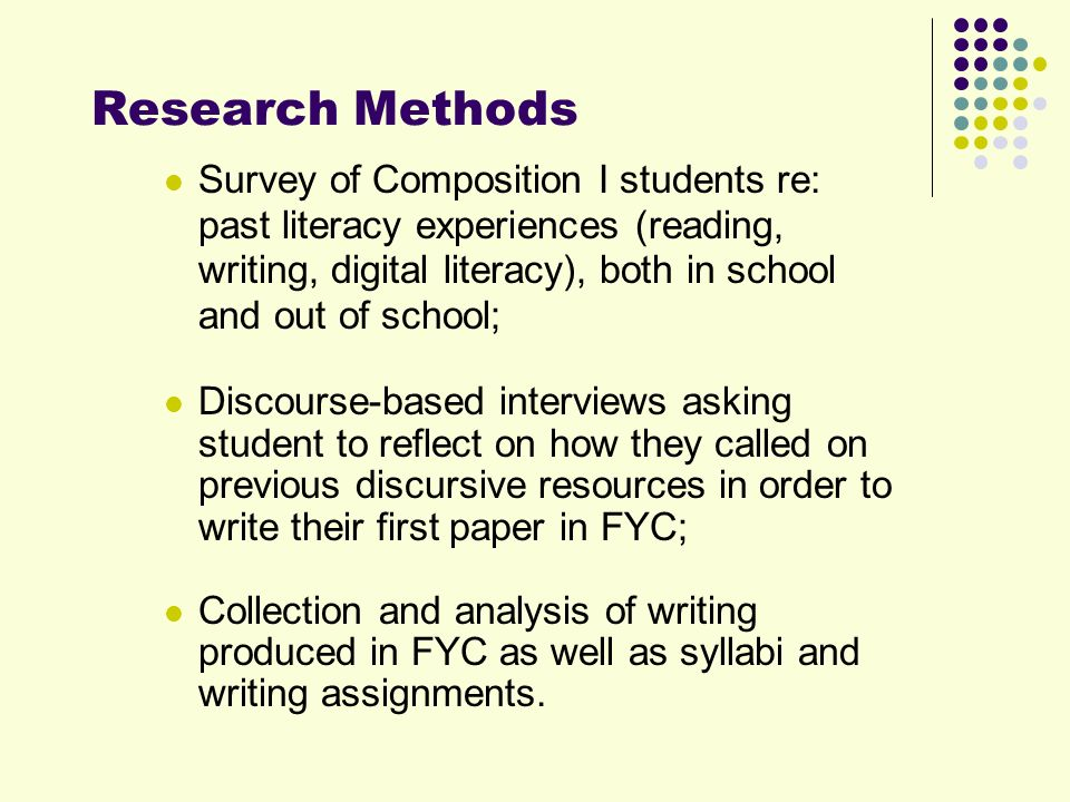 Research Methods Survey of Composition I students re: past literacy experiences (reading, writing, digital literacy), both in school and out of school; Discourse-based interviews asking student to reflect on how they called on previous discursive resources in order to write their first paper in FYC; Collection and analysis of writing produced in FYC as well as syllabi and writing assignments.