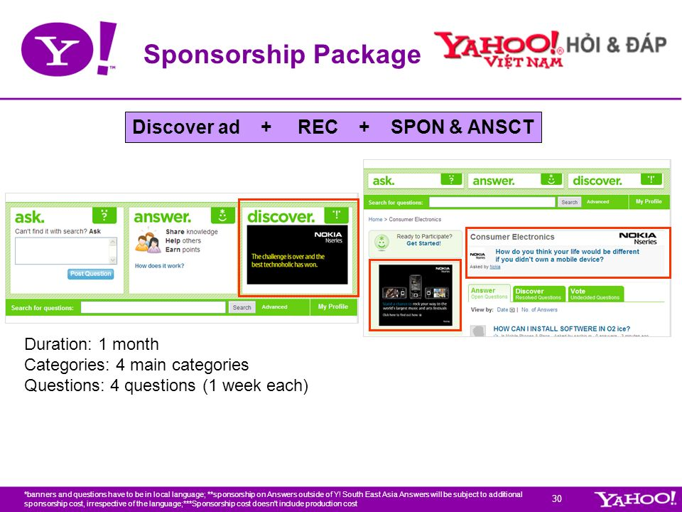 30 Sponsorship Package Duration: 1 month Categories: 4 main categories Questions: 4 questions (1 week each) *banners and questions have to be in local