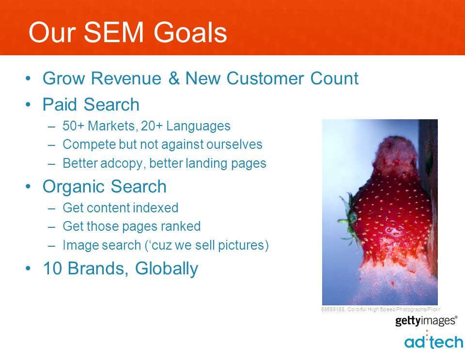 Our SEM Goals Grow Revenue & New Customer Count Paid Search –50+ Markets, 20+ Languages –Compete but not against ourselves –Better adcopy, better landing pages Organic Search –Get content indexed –Get those pages ranked –Image search (cuz we sell pictures) 10 Brands, Globally 88558188, Colorful High Speed Photographs/Flickr