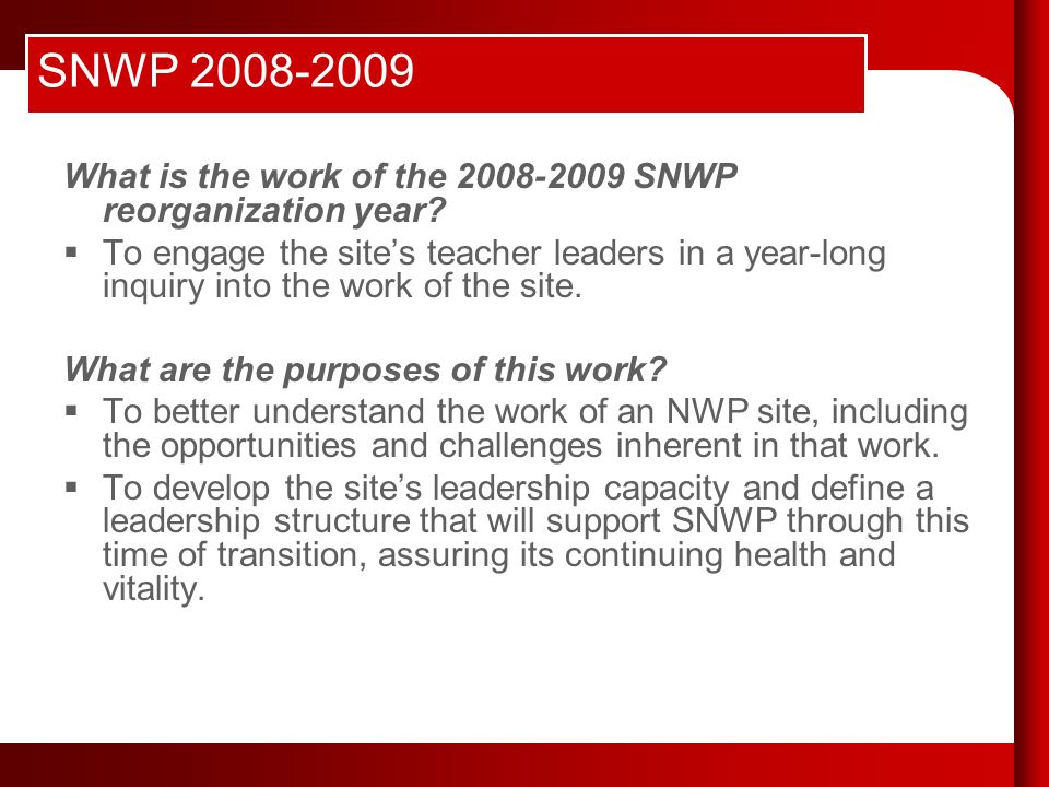 SNWP 2008-2009 What is the work of the 2008-2009 SNWP reorganization year.