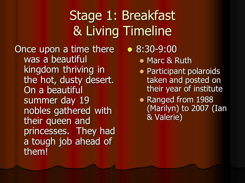 Stage 1: Breakfast & Living Timeline Once upon a time there was a beautiful kingdom thriving in the hot, dusty desert.