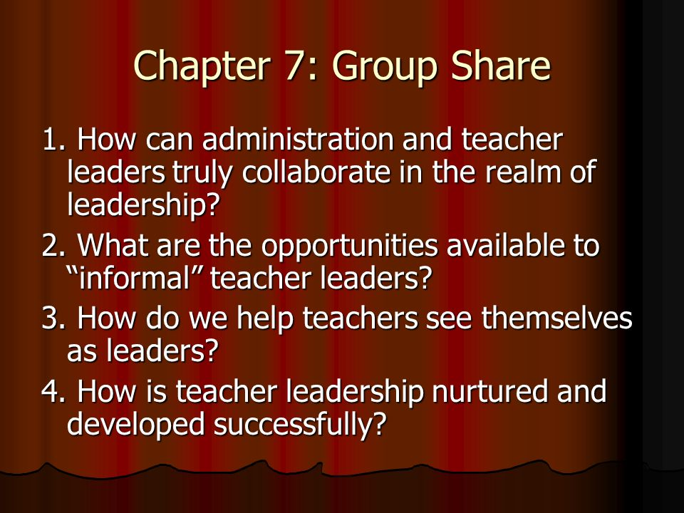 Chapter 7: Group Share 1.