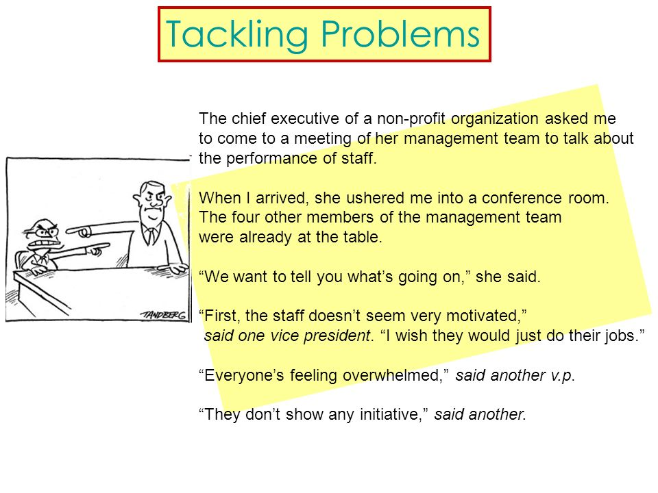Tackling Problems The chief executive of a non-profit organization asked me to come to a meeting of her management team to talk about the performance of staff.
