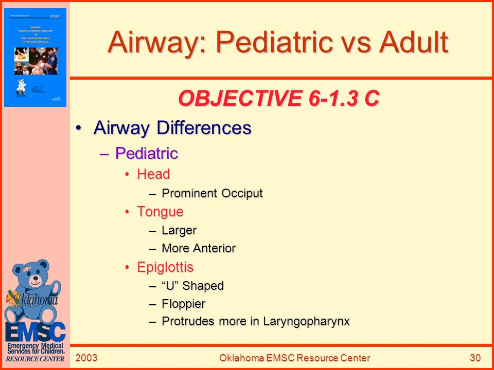 2003Oklahoma EMSC Resource Center30 Airway: Pediatric vs Adult OBJECTIVE 6-1.3 C Airway DifferencesAirway Differences –Pediatric HeadHead –Prominent O