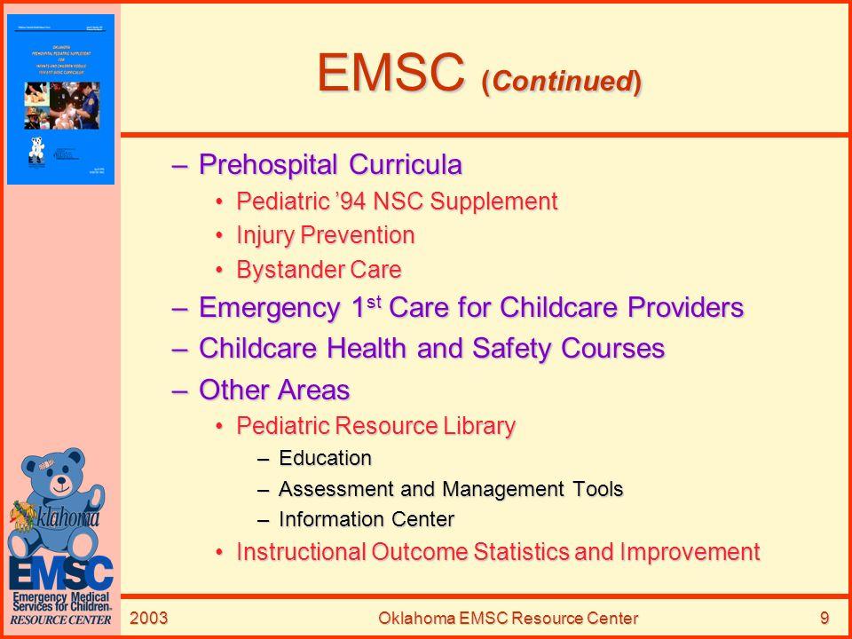 2003Oklahoma EMSC Resource Center9 EMSC (Continued) –Prehospital Curricula Pediatric 94 NSC SupplementPediatric 94 NSC Supplement Injury PreventionInj