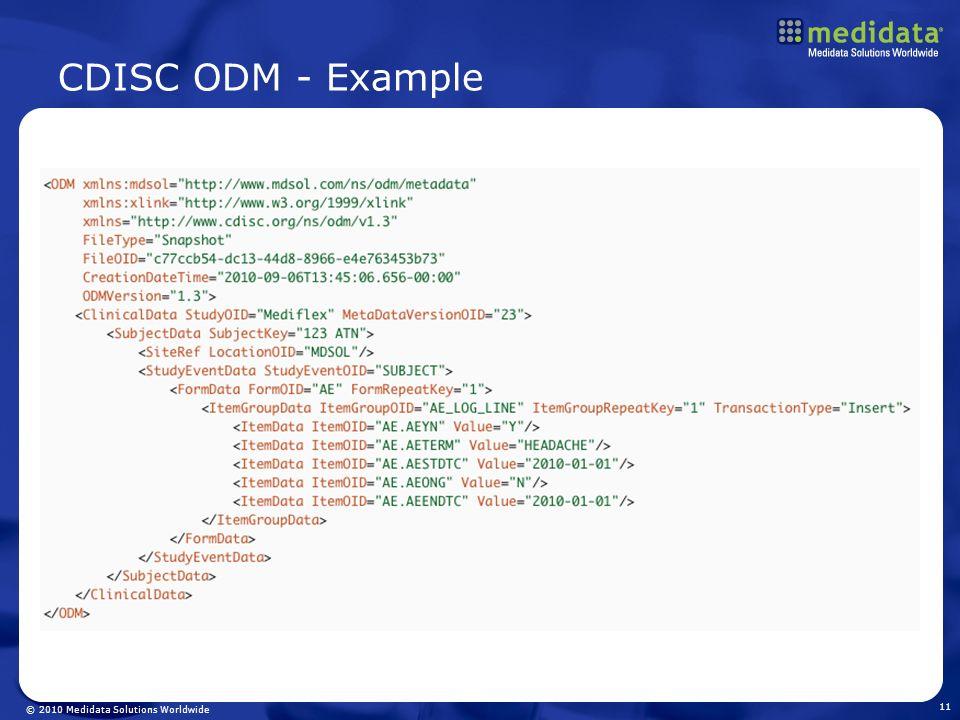 © 2010 Medidata Solutions Worldwide CDISC ODM - Example 11