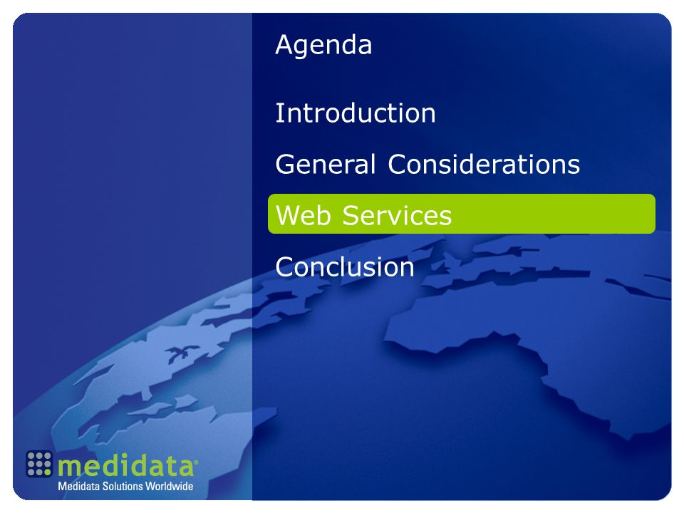 Introduction General Considerations Web Services Conclusion Agenda