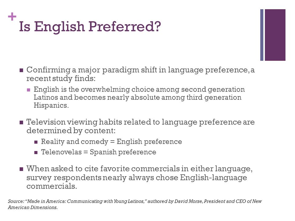 + Is English Preferred.