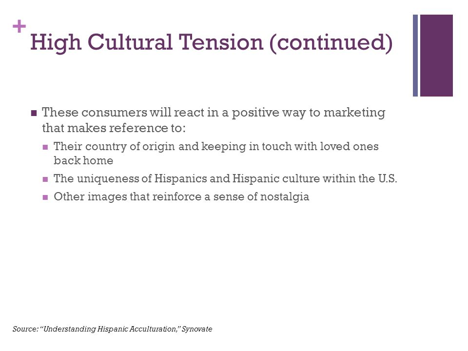 + High Cultural Tension (continued) These consumers will react in a positive way to marketing that makes reference to: Their country of origin and keeping in touch with loved ones back home The uniqueness of Hispanics and Hispanic culture within the U.S.