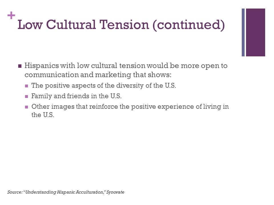 + Low Cultural Tension (continued) Hispanics with low cultural tension would be more open to communication and marketing that shows: The positive aspects of the diversity of the U.S.