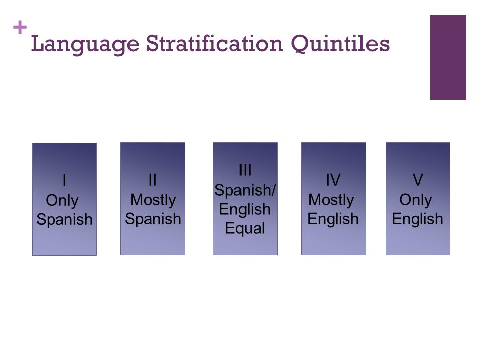 + Language Stratification Quintiles I Only Spanish II Mostly Spanish III Spanish/ English Equal IV Mostly English V Only English