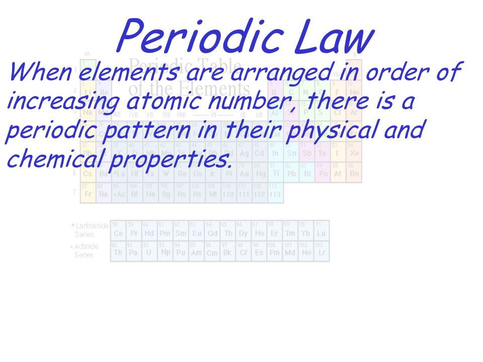 Periodic Law When elements are arranged in order of increasing atomic number, there is a periodic pattern in their physical and chemical properties.