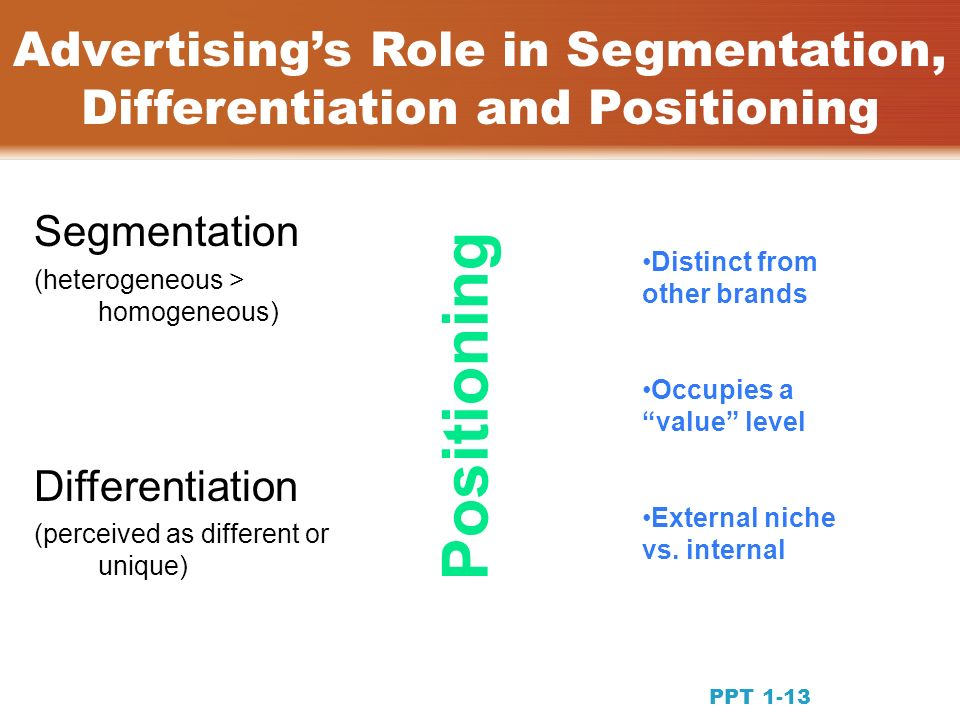 Advertisings Role in Segmentation, Differentiation and Positioning Segmentation (heterogeneous > homogeneous) Differentiation (perceived as different or unique) Positioning Distinct from other brands Occupies a value level External niche vs.