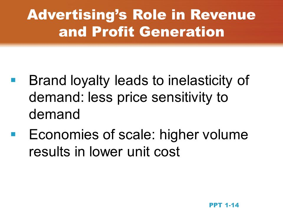 Brand loyalty leads to inelasticity of demand: less price sensitivity to demand Economies of scale: higher volume results in lower unit cost Advertisings Role in Revenue and Profit Generation PPT 1-14