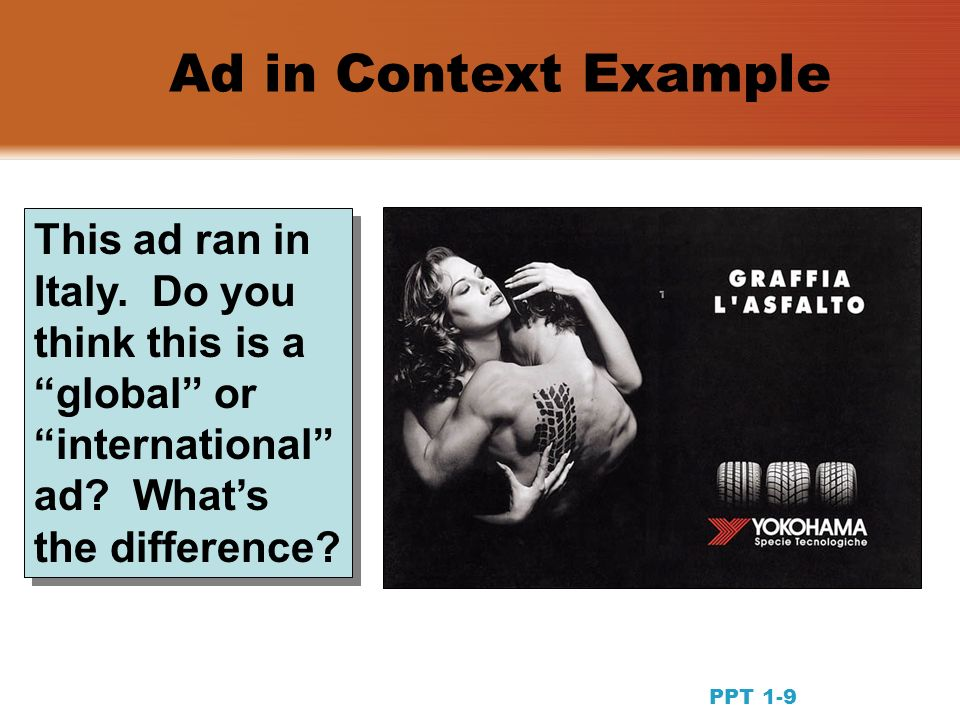 PPT 1-9 This ad ran in Italy. Do you think this is a global or international ad.