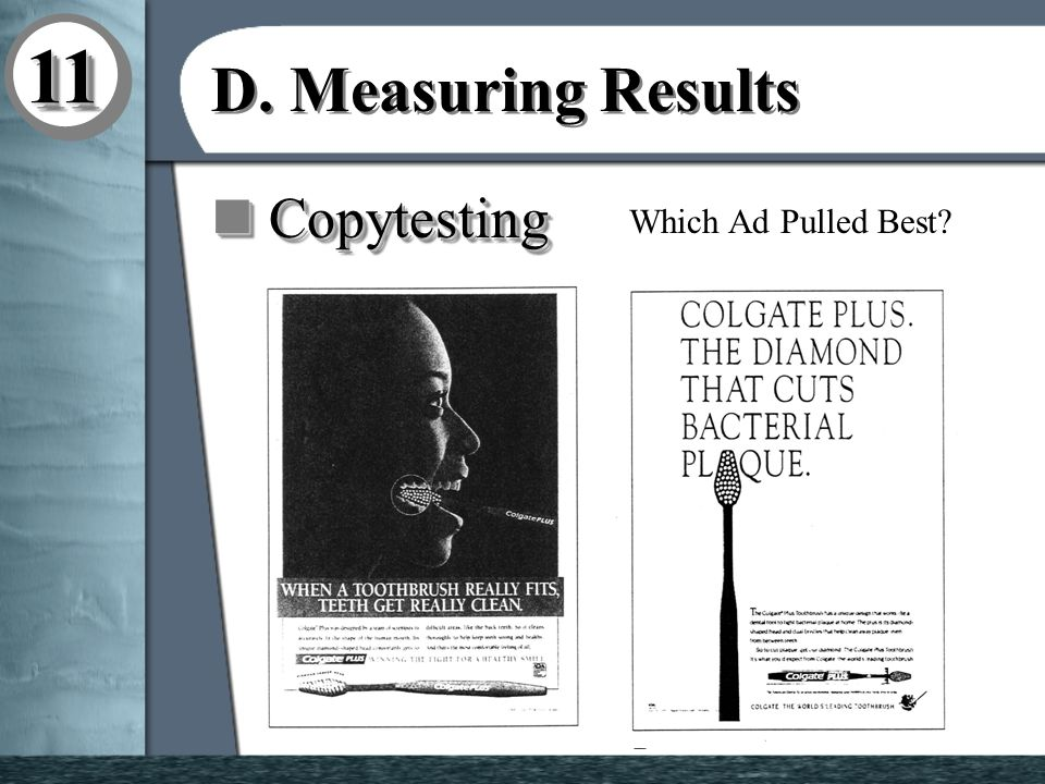 1111 C. Implementation Research n Pre-testing ad concepts l l Useful as part of account planning process n Pre-testing ad concepts l l Useful as part