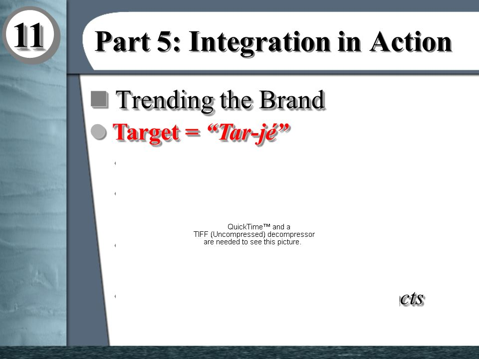 1111 Part 5: Integration in Action n Extending the Brand l Starbucks s a third place u Consumer Insight determined consumers felt Starbucks was a place between home and work.