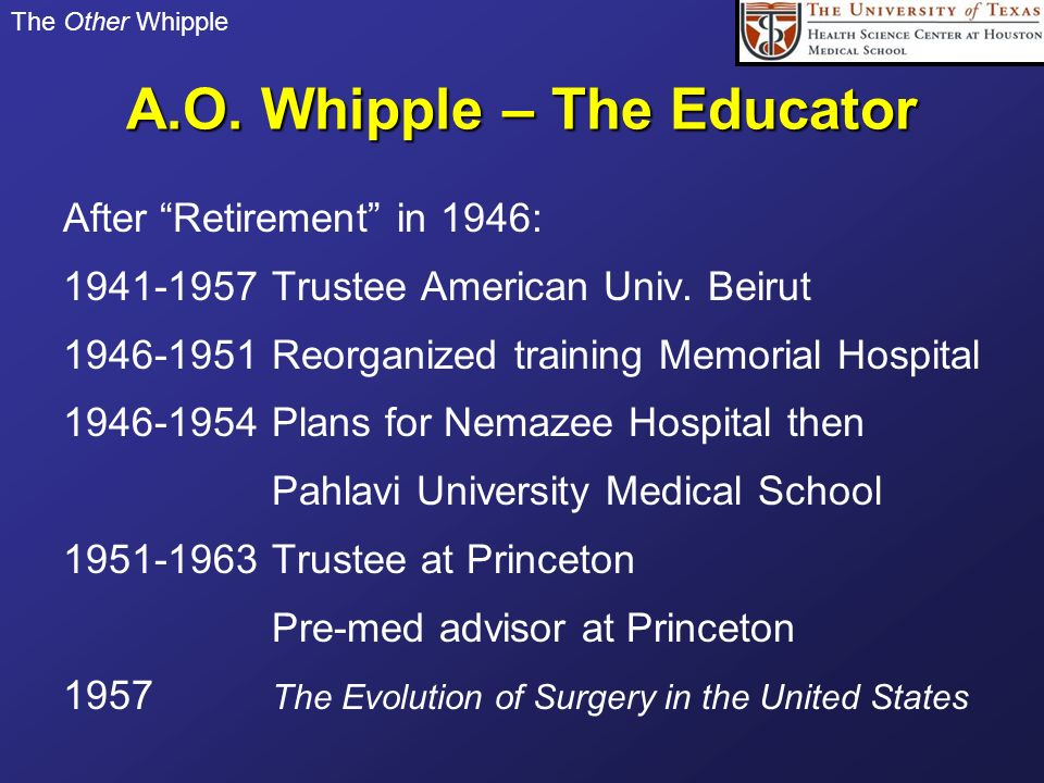 The Other Whipple A.O. Whipple – The Educator After Retirement in 1946: 1941-1957 Trustee American Univ. Beirut 1946-1951 Reorganized training Memoria