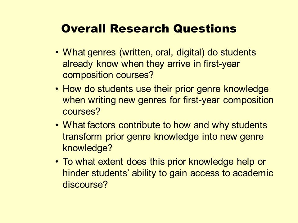 Overall Research Questions What genres (written, oral, digital) do students already know when they arrive in first-year composition courses? How do st