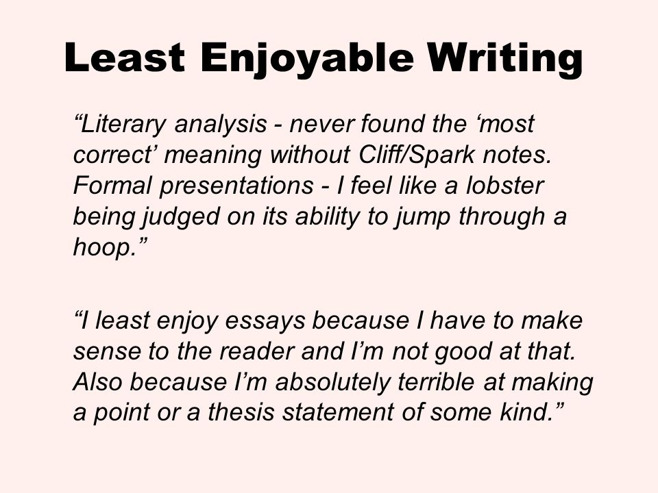 Least Enjoyable Writing Literary analysis - never found the most correct meaning without Cliff/Spark notes. Formal presentations - I feel like a lobst